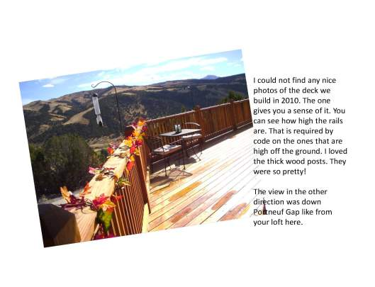 picture of a deck with a mountain view