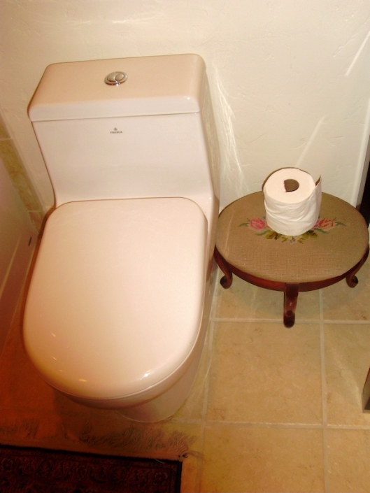 potty with small stool beside that held the toilet paper