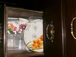 mugs and plates with tropical flowers sharing a drawer with plastic left over containers