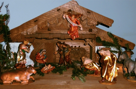 hand made Christmas nativity with Mary, Josept, the babe, the angles and the wise men.