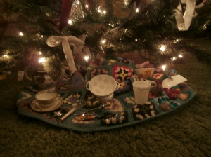 tree with Christmas gifts of items given after the fire