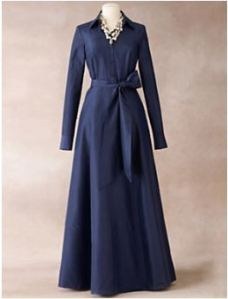 ladies ball gown in silk shirtwaste style with full skirt ink blue