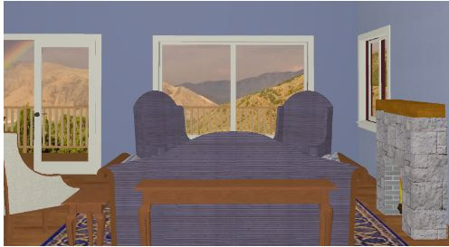 view of living room out through window showing a big mountain view.