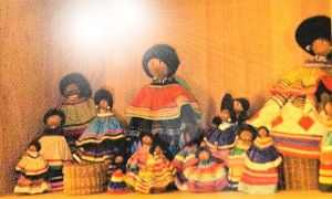 collection of female Seminole Indian dolls ranging from 1 1/2 tall to 10 inches tall