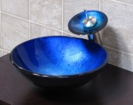 blue glass sink