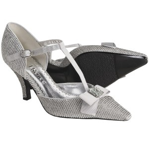 2 3/4 inche heel formal pumps in silver with bow and rhinestone button