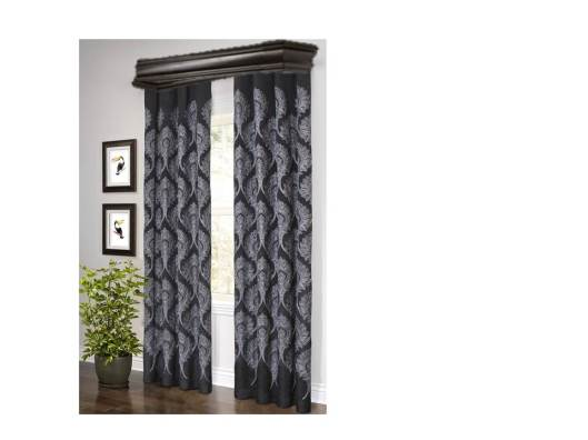 black embrordered paisley curtains with a black wood cornice