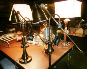 two pharmacy lamps, one large exterior carrage lamp, mirror and glass table lamp puter lamp all antique stule