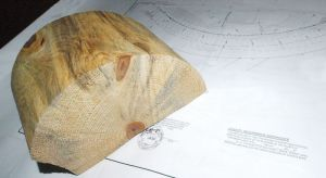 half of a sawn log about 12 inches long sitting on the side of a blueprint.