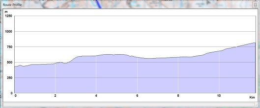 graph showing the profile of a trail