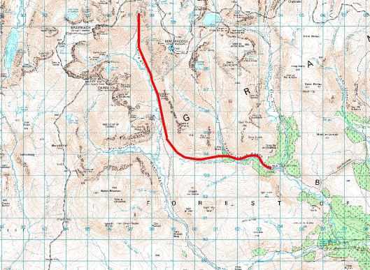 detailed topographic map with trail marked on it