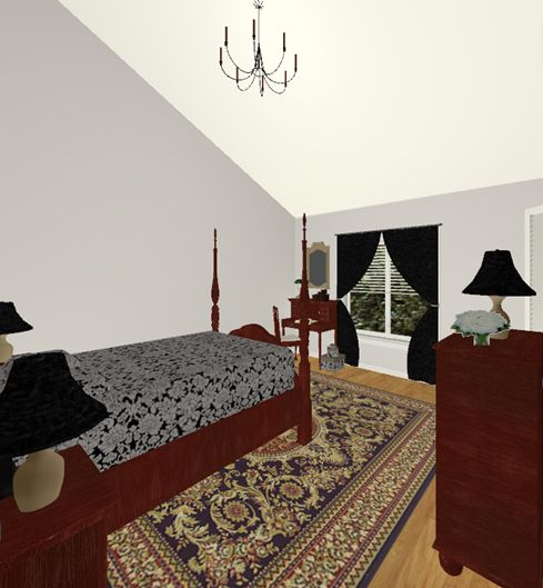3D mock up of bedroom focusing on black and white as the primary colors'
