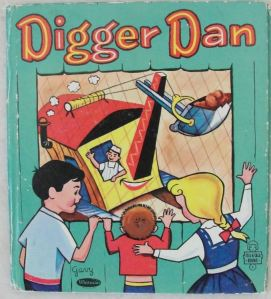 cover of children's book Digger Dan showing a steam shovel through a window with children waving at it