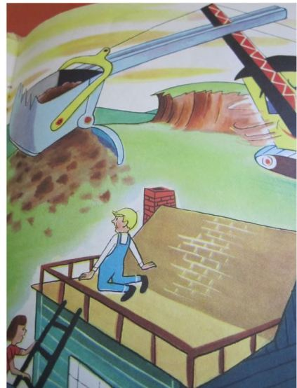 illustration from children's book Digger Dan showing a steam shovel showing children on roof to look at the steam shovel