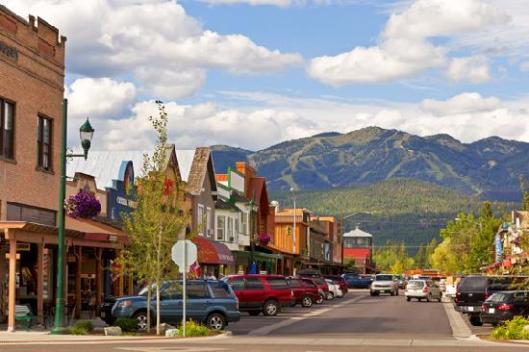Main street in Whitefish Mt with western style buildings