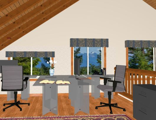 3D mock up of desks facing large windows overlooking forest and mountain view
