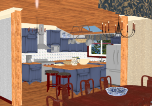 3D mock up of kitchen placed in a lean-to. The dining table is in the foreground