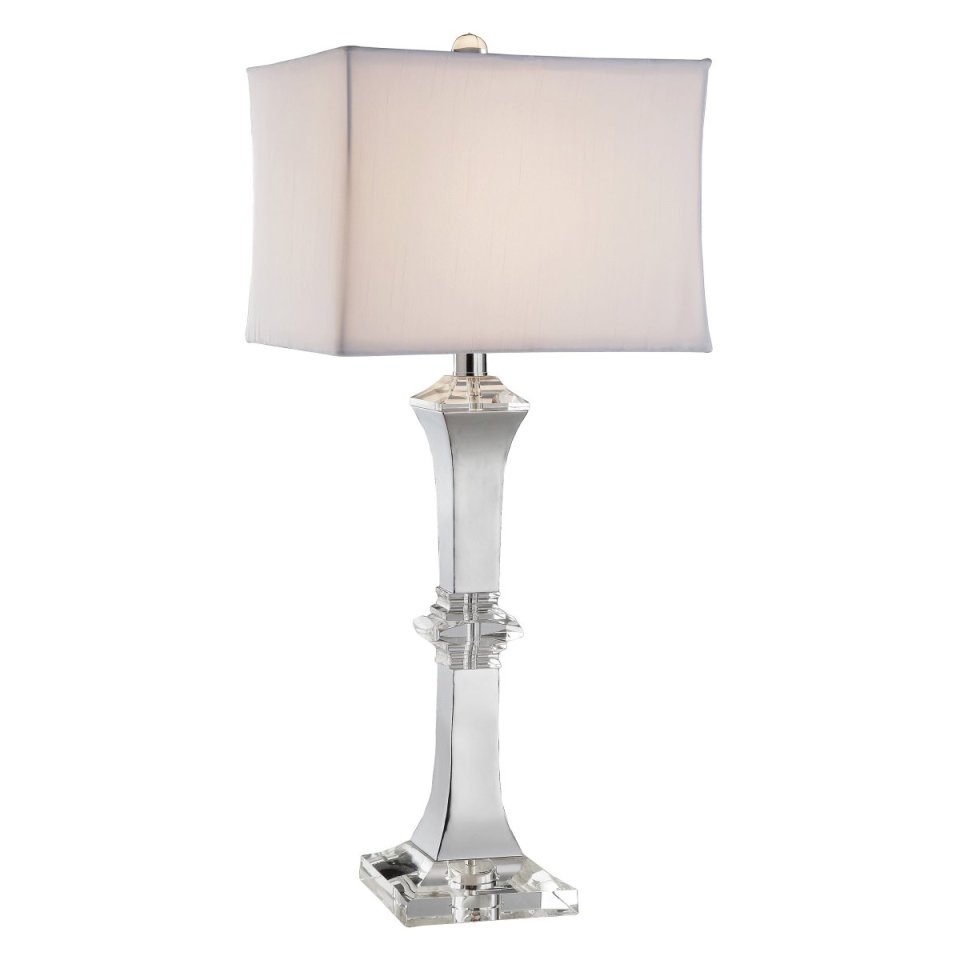 large table lamp with mirrored column and square lampshade