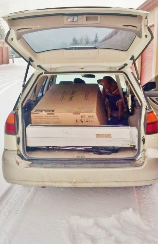 open hatch of a subaru with a bathtub box and a dog inside