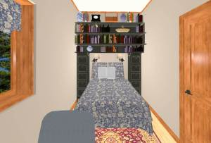 bed with storage bridge