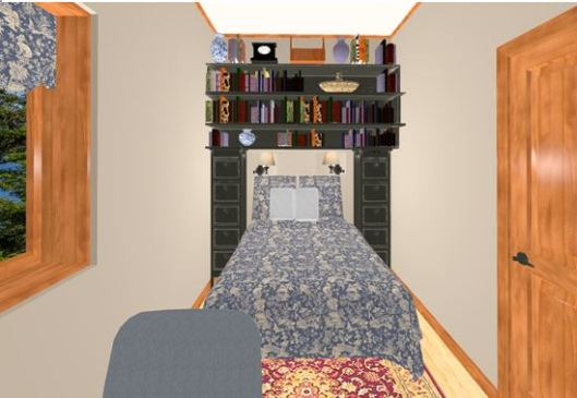 view of bedroom with office chair in the front and bed with a black bookcase storage unit built around it.