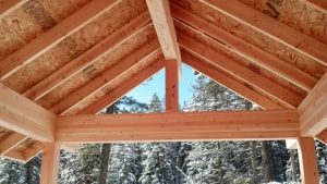 house under construction view thorugh king post of porch looking at evergreens with snow