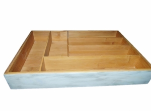 bamboo drawer organizer painted white with antique glaze