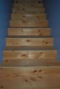 wood floor stairs tightly shot