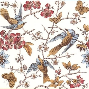 ceramic tile showing birds and flowers up close, muted colors, late 1800s design
