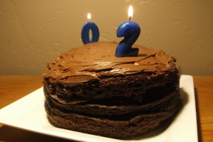 chocolate cake with two candles facing opposite directions. The number facing front is a 2 and the back of the number on the other side of the cake is a 0.