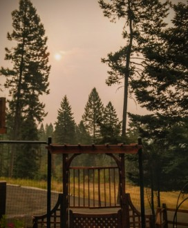 Afternoon sun obscured by wildfire smoke